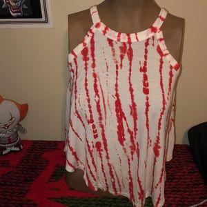 Derek heart red & white tank top size small NWOT
